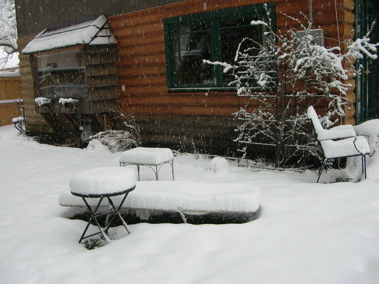Chaise longue in snow